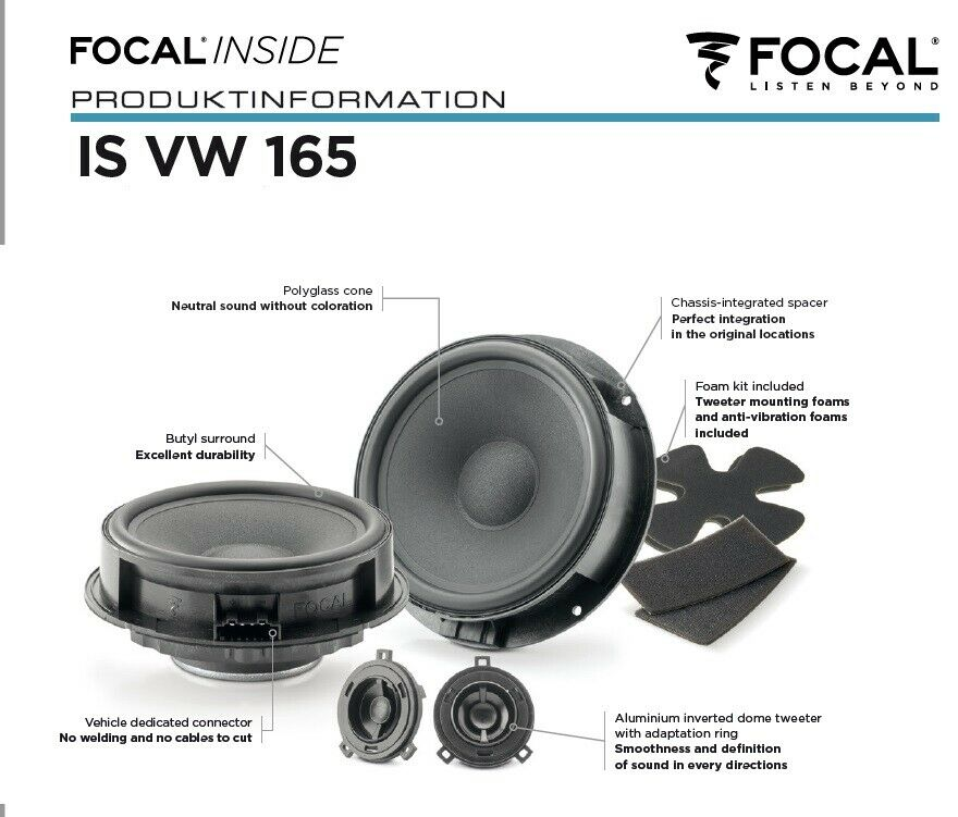 Focal ISVW165 Inside 16,5 cm 2-Wege Compo Lautsprecher für Audi, Seat, Skoda, Volkswagen VW