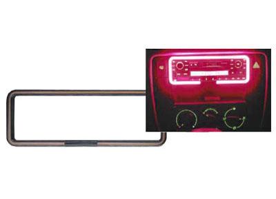 RTA 700.005-2 Neon Radio Rahmen mit extern. Soundsteuerung, Einfach-DIN, Farbe: rot