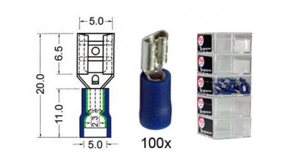 RTA 151.206-2 Flachsteckhülse isoliert VINYL Doppelcrimp, 4,8 mm BLAU im 100er Pack