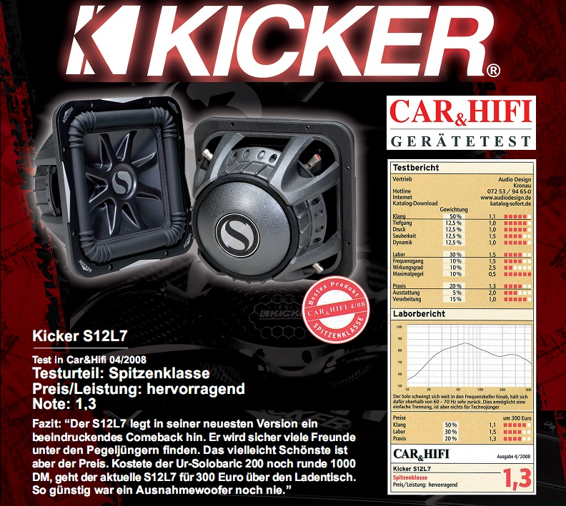 "Kicker S12L74  30 cm (12"") Subwoofer L7 Solobaric Serie S12 L7"