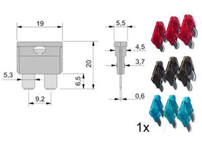 RTA 154.151-0 Sortiment Flachstecksicherungen DIN72581/3C 9-teilig: je 3 x 7,5A, 10A, 15A