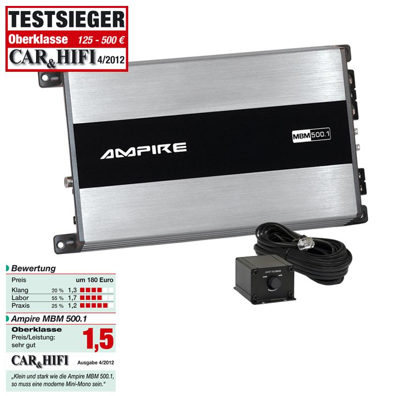 AMPIRE MBM500.1-3G Endstufe, 1x 500 Watt, Class D (3.Generation) Mono Digitalverstärker