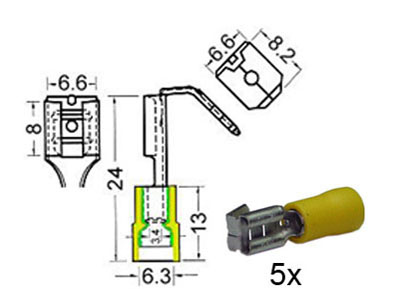 RTA 151.406-0 Receptacles with isolated splitter w6,3mm + m6,3mm yellow