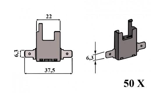 RTA 155.001-2 Sicherungshalter, Steckanschluß = 2x6,35mm, 50 Stk. neutral V.