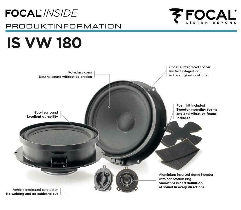 Focal ISVW180 Inside 2-Wege Compo 18 cm Lautsprecher für Volkswagen VW, Seat, Skoda