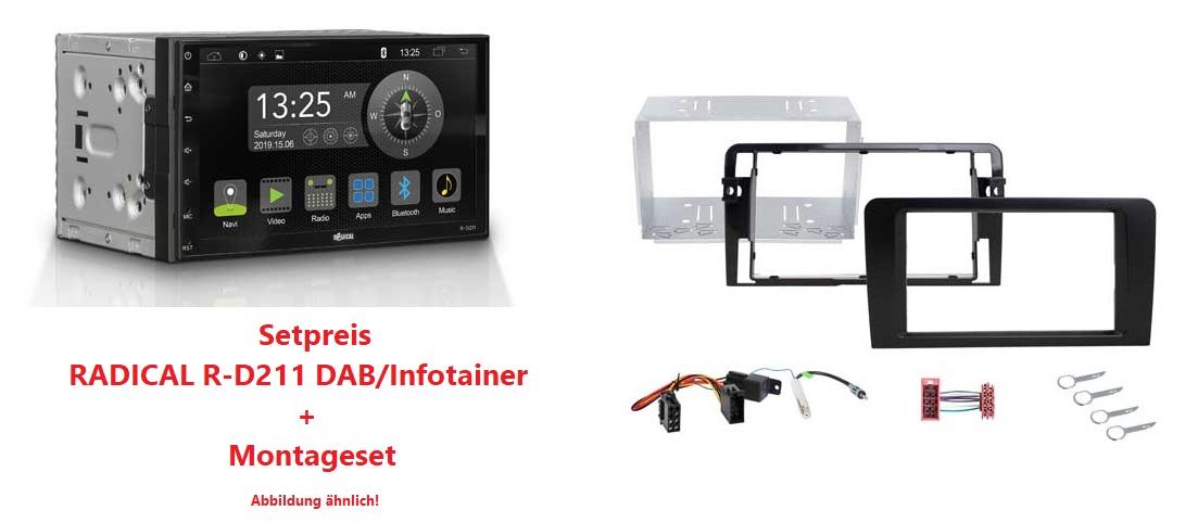RADICAL R-D211 DAB+ Infotainer + R-D003 Montageset Audi A3 Vollaktiv (8P/8PA 2003>2008) Setpreis