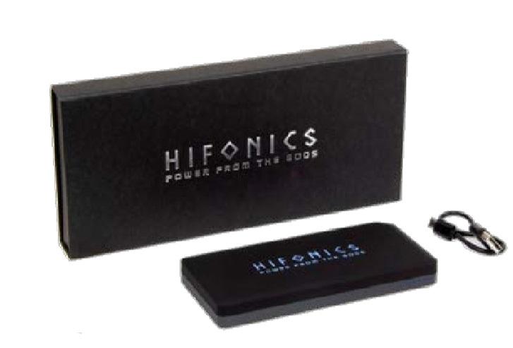 Hifonics PBHF1000 Power Bank für Smartphones mit blau beleuchtetem HF Logo