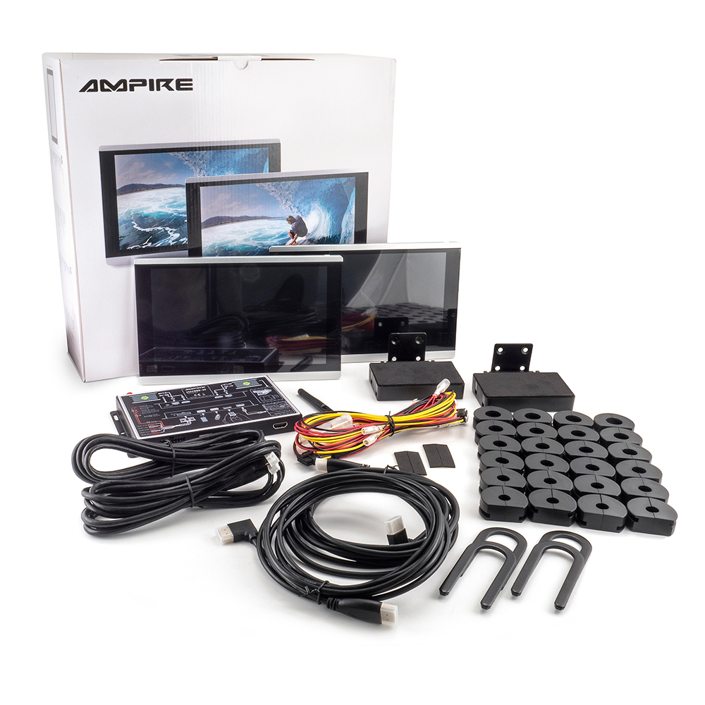 """AMPIRE AMX090-4K-DUO RSE-Set mit zwei 9"""" Monitoren und zwei Android Boxen"""