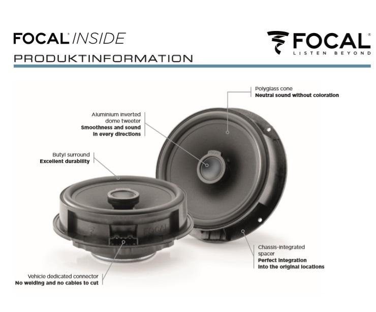 Focal ICVW165 Inside 16,5 cm 2-Wege Koax Lautsprecher für Audi, Seat, Skoda, Volkswagen VW
