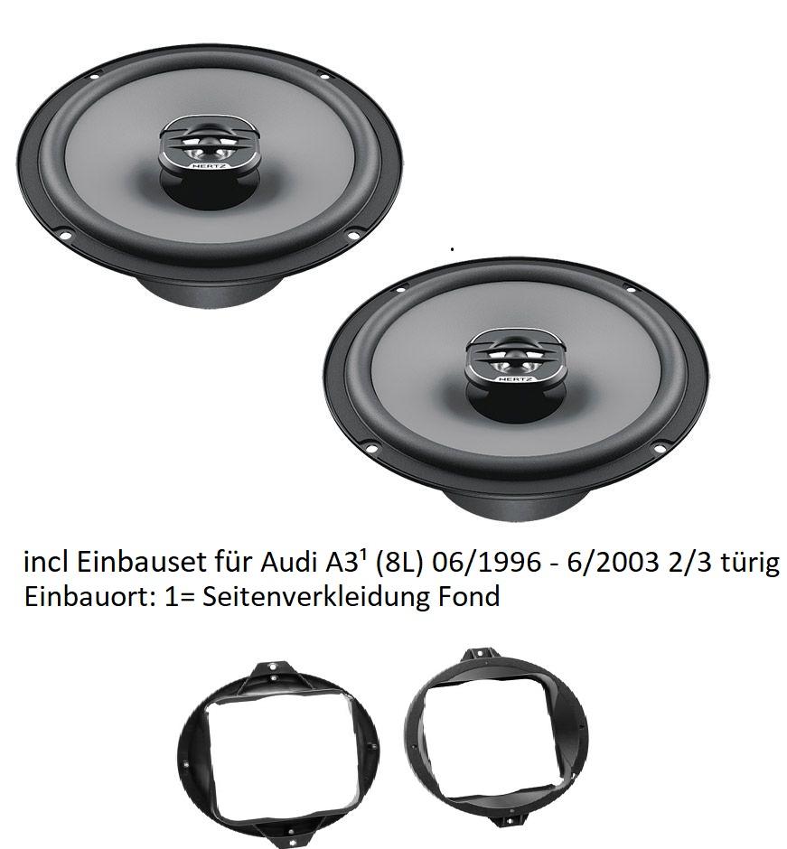 Audi A3 8L Seitenverkleidung Fond - Hertz Uno X160 - 16cm 2-Wege Koax incl. Lautsprechereinbauset