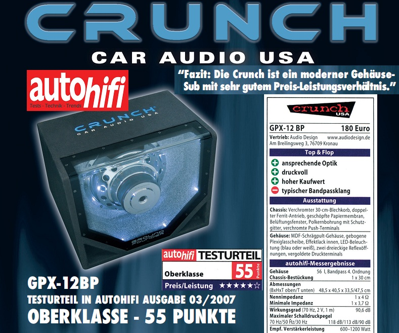 CRUNCH SINGLE BANDPASS GPX-12BP 30 cm GPX-12BP