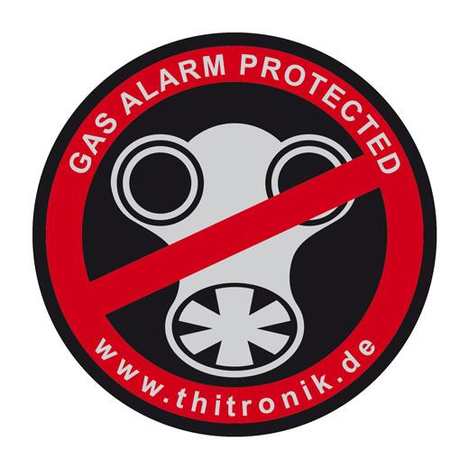 "Thitronik 100941 Warnaufkleber ""Gas-alarm protected"" 3 Stück"