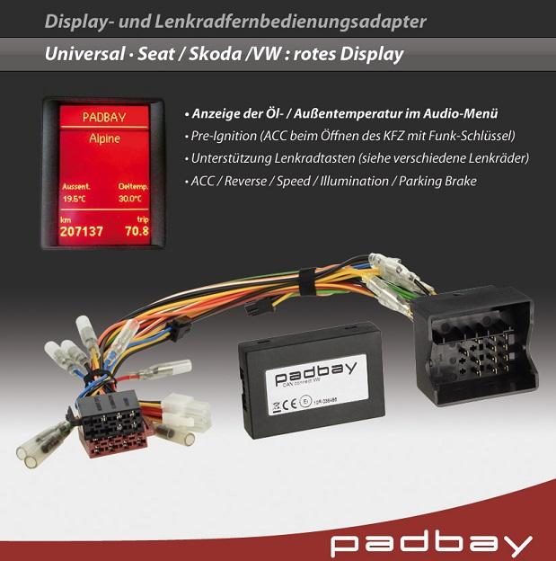 41-1324-404 Padbay Display- und Lenkradfernbedienungsadapter Padbay Interface auf Zenec für Seat, Skoda, VW - Modelle mit rotem Display
