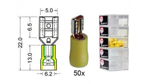 RTA 152.207-2 Flachsteckhülse isoliert und VERGOLDET, 4,8 mm GELB im 50er Pack