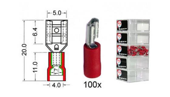 RTA 151.205-2 Flachsteckhülse isoliert VINYL Doppelcrimp, 4,8 mm ROT im 100er Pack