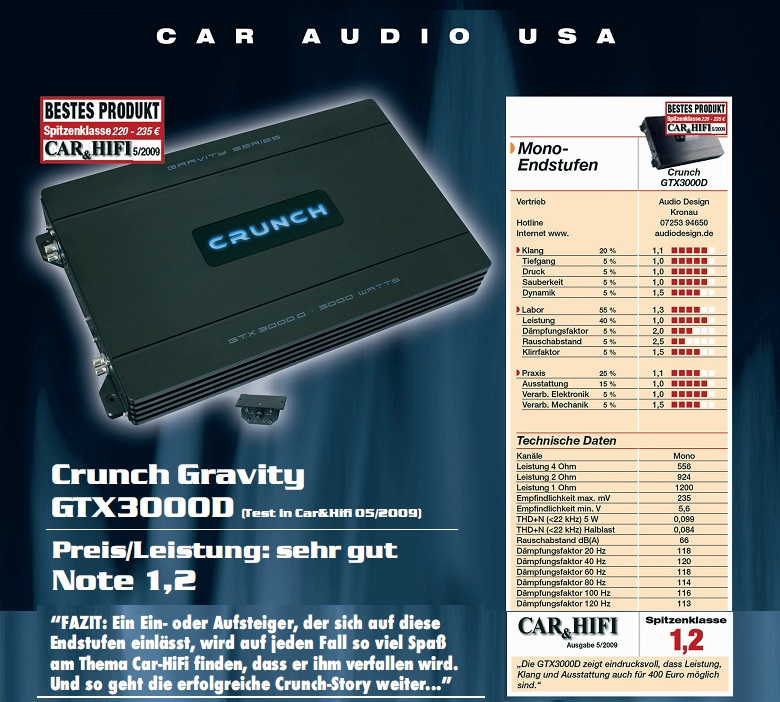 CRUNCH GTX-3000D Mono-Block digital GRAVITY AMP GTX3000D