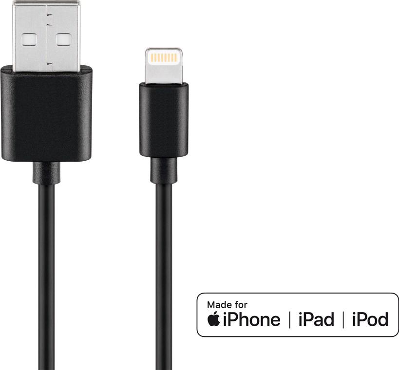 AMPIRE IP401L USB-Kabel auf Apple Lightning Stecker, 1m, schwarz