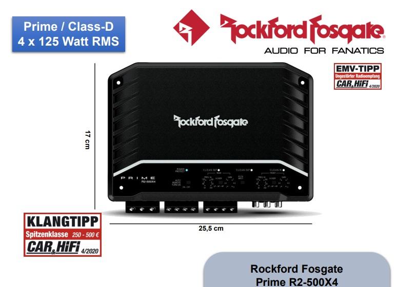 Rockford Fosgate R2-500X4 Prime 4 Kanal Verstärker ENDSTUFE mit 500 Watt RMS