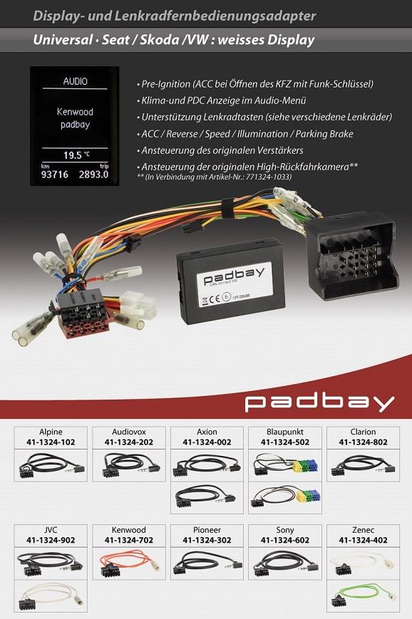 41-1324-502 Padbay Display- und Lenkradfernbedienungsadapter Padbay Interface auf Blaupunkt für Seat, Skoda, VW