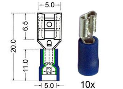 RTA 151.206-0 Flachsteckhülsen isoliert 4,8mm blau