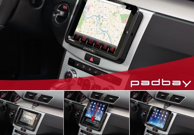 381320-60-1 Padbay Radioblende Seat, Skoda, VW 2-DIN mit I-Pad Mini Einschub VW Padbay Kit black
