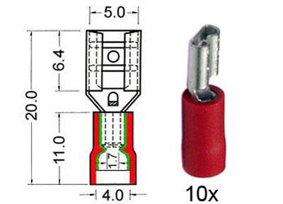 RTA 151.205-0 Flachsteckhülsen isoliert 4,8mm rot