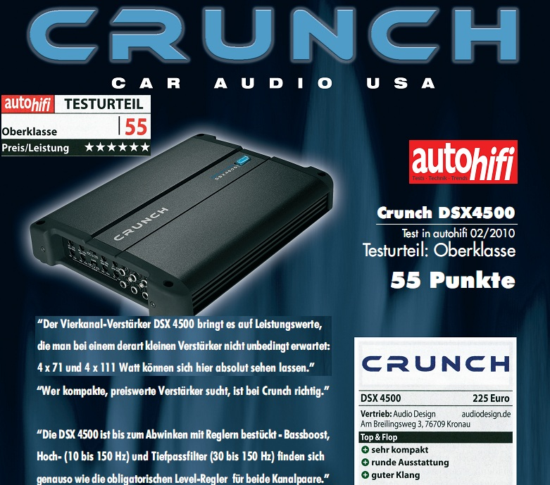 CRUNCH DSX-4500 DEFINITION AMP 4-Kanal Verstärker DSX4500