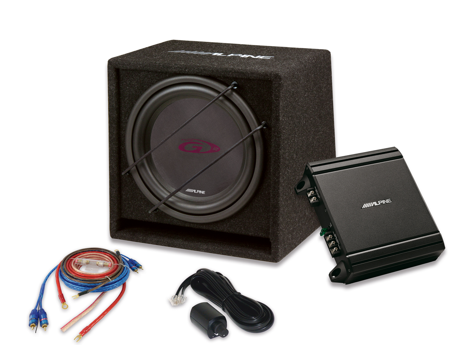 Alpine SBG-30KIT 30 cm (12-Zoll) Power Subwoofer Paket Verstärker + Subwoofer + Kabel