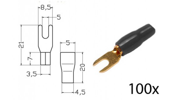 RTA 152.359-2 Clamping - fork terminals insulated, gold-plated, 100x BLACK 4,0-6,0mm² / 9 / 11AWG DU 5mm