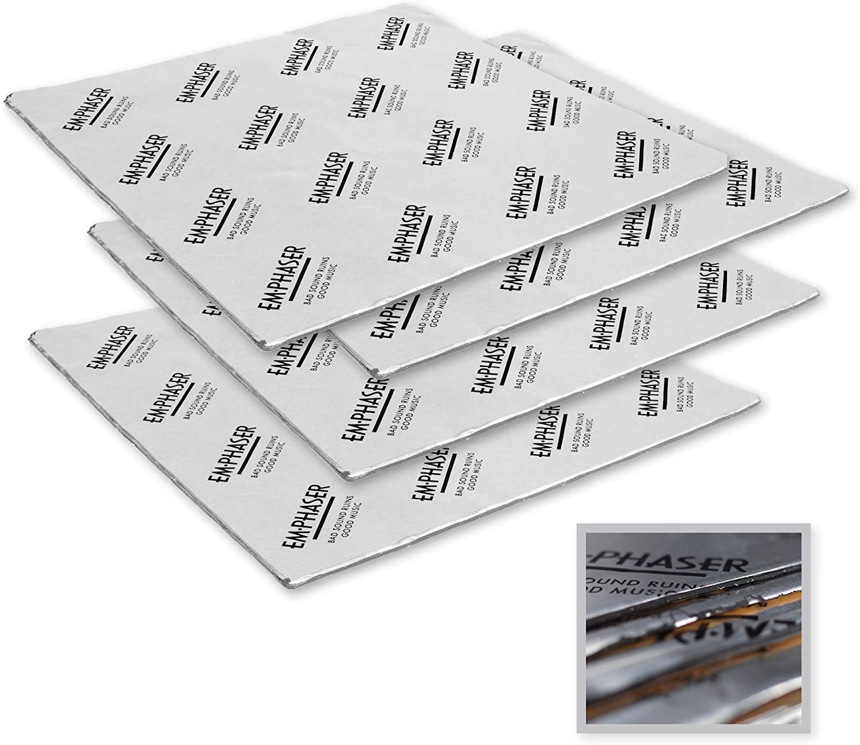 EMPHASER ESP-DM4 Selbstklebende Alu-Butyl Dämmmatten, Dämmmaterial für Anti Dröhn Lärmschutz, Schalldämmung und Schallschutz, für Autos, 2,1 mm, 4 St. a 900 x 300 mm