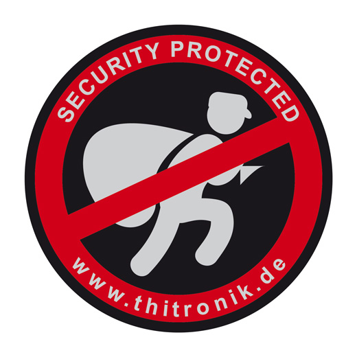 "Thitronik 100940 Warnaufkleber ""Security protected"" 3 Stk"