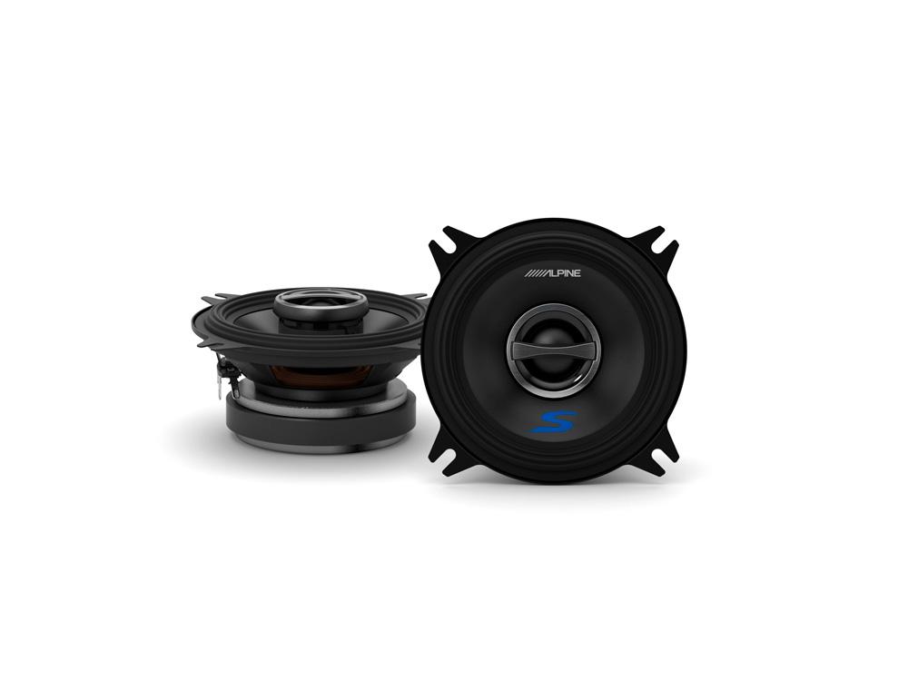 Alpine S-S40 10 cm (4-Zoll) 2-Wege-Koaxial-Lautsprechersystem 1 Paar 140 Watt Speaker
