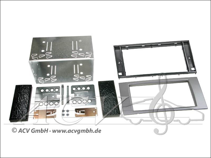 Doppel-DIN Einbaukit Rubber Touch Ford 2005-> silber
