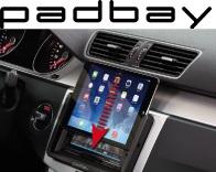 381320-60-2 Padbay Radioblende VW, Seat, Skoda 2-DIN mit I-Pad Mini Einschub VW Padbay Kit Rubber Touch black