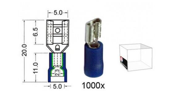 RTA 151.206-3 Flachsteckhülse isoliert VINYL Doppelcrimp, 4,8 mm BLAU im 1000er Pack