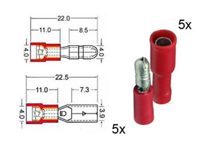 RTA 151.110-0 5  x round circular plug and 5 x socket contacts isolated set of 4mm red