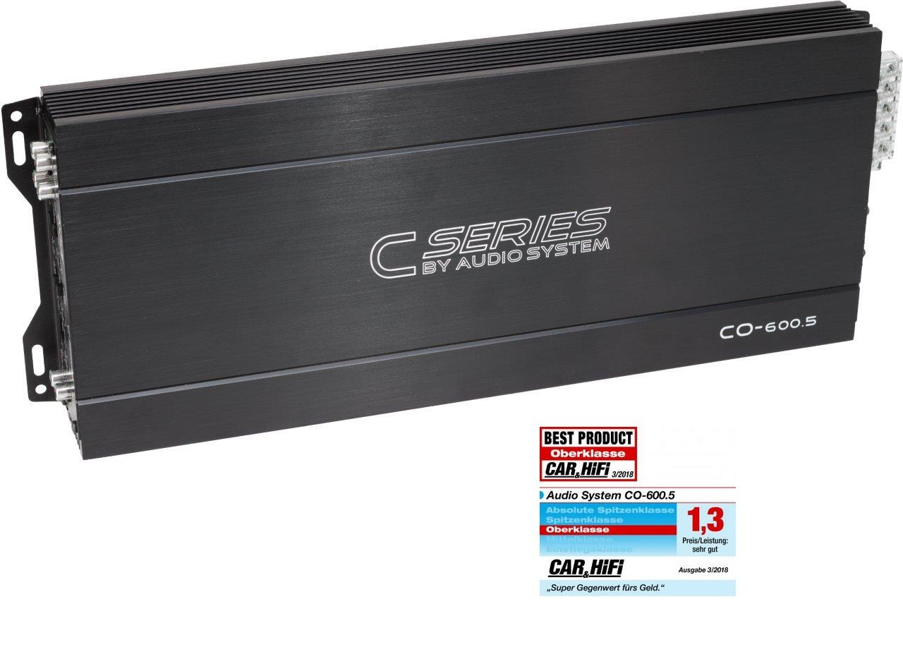 Audio System CO-600.5 5-Kanal Class A/B Hochleistungs-Verstärker + RTC Kabelfernbedienung