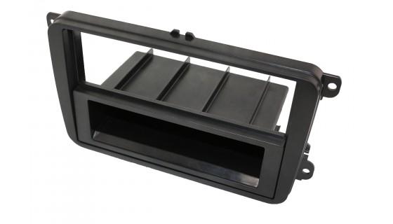 RTA 000.102S1-0 Doppel DIN Einbaurahmen mit Ablagefach, Skoda-Seat-VW matt schwarz mit Klapperschutz