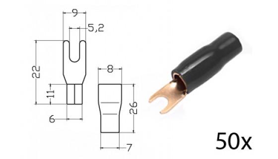 RTA 152.375-2 Klemm-Gabelkabelschuh isoliert, vergoldet, 50x SCHWARZ 16mm2 Durchm. 5mm