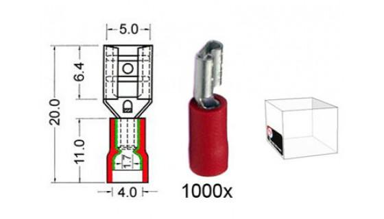 RTA 151.205-3 Flachsteckhülse isoliert VINYL Doppelcrimp, 4,8 mm ROT im 1000er Pack