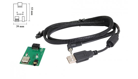 RTA 005.401-0 USB cable kit for specific vehicles , Hyundai / Kia USB 2.0 + AUX connector L = 68cm