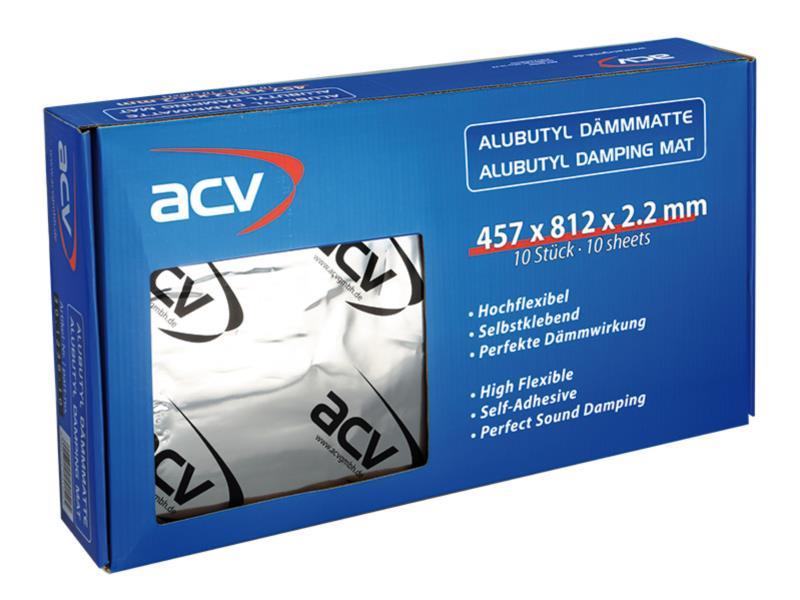 ACV 30.1236-10 Alu Butyl Dämmmatte (457 x 812 x 2.2 mm ) 10 Stück