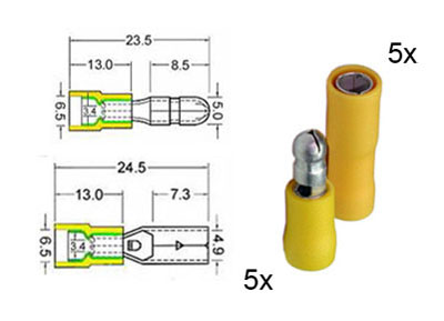 RTA 151.113-0 5 x  round circular plug and 5 x socket contacts isolated set 5mm yellow