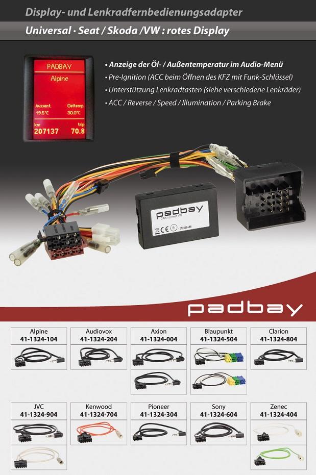 41-1324-504 Padbay Display- und Lenkradfernbedienungsadapter Padbay Interface auf Blaupunkt für Seat, Skoda, VW - Modelle mit rotem Display