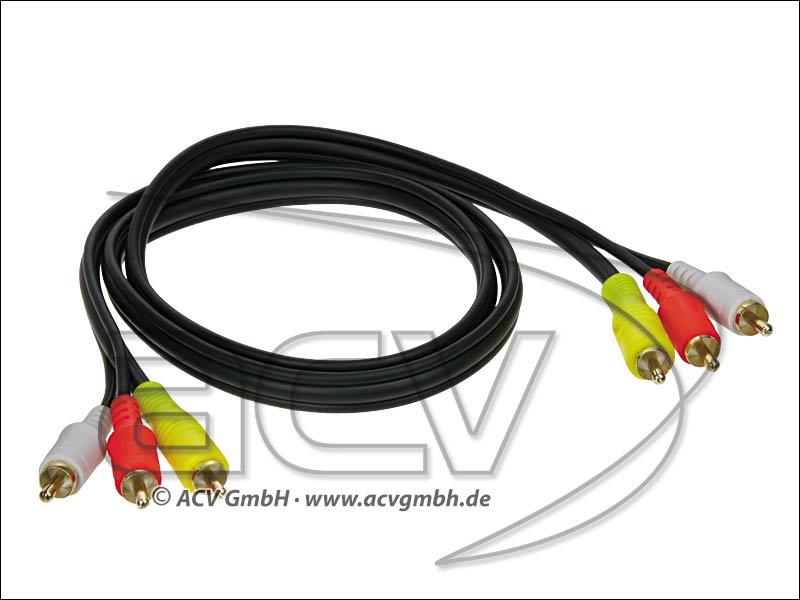 ACV 2303dlv100 A/V Kabel 1m 3 Stecker rot-weiß-gelb