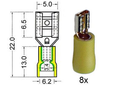 RTA 152.207-0 Flachsteckhülsen isoliert und vergoldet 4,8mm, gelb 8 Stück im Blister